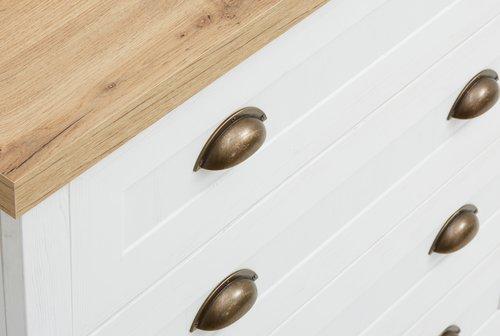 Komoda MARKSKEL 4 zásuvky biela/dub