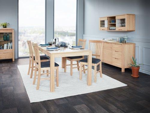 Krzesło SEJS szara tkanina/dąb