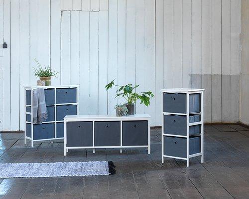Bänk ODBY 3 lådor vit/grå