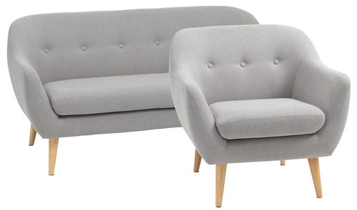 Sofa 2.5 seater+armchair EGEDAL l.grey