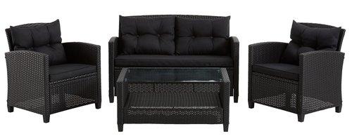 Lounge set MORA 4 pers. black