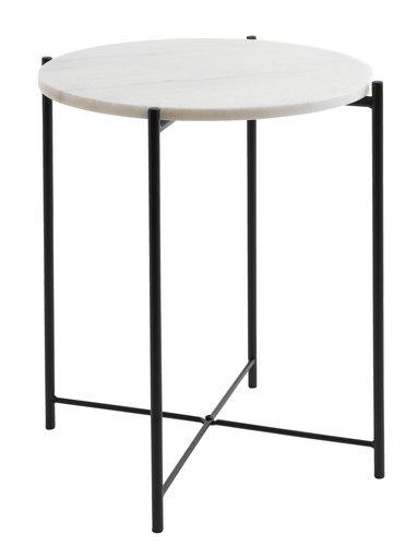 Tavolino HAARBY Ø45 marmo/nero