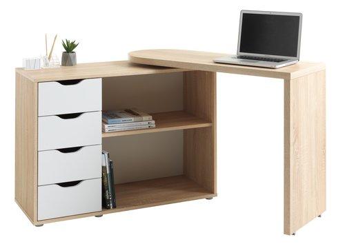 Skrivbord LANGAGER 41-107x107-165 ek/vit