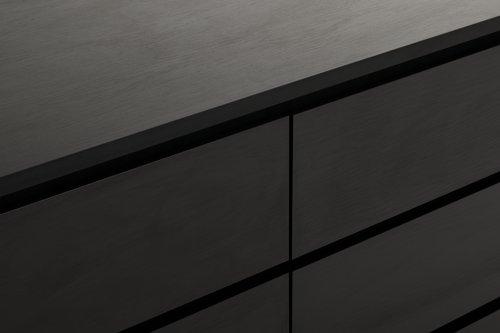 Komoda LIMFJORDEN 3+3 zásuvky čierna