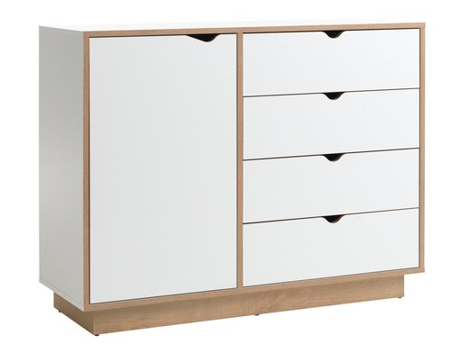 4 drw 1 dr chest MAMMEN white/oak