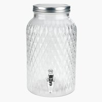 Container w/tap GLASS 5.5 ltr. glass