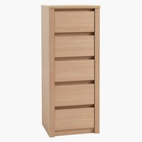 5 drw chest VEDDE slim light oak