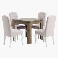Miza VEDDE D80/160 + 4 stoli STENLILLE