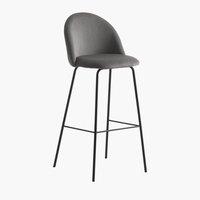 Бар стол GRINDSTED кадифе сиво/черно