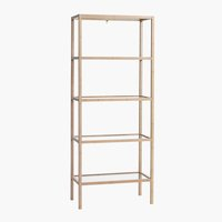 Bookcase BRANDE 5 glass shelves bamboo