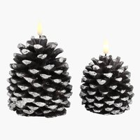 Candle LOFN H12/14cm w/LED 2 pack