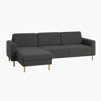 Bank SVALBARD chaise longue donker grijs