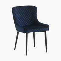 Spisebordsstol PEBRINGE velour blå/sort