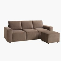 Sofa DAL 3-personers m/puf grå/brun