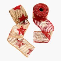 Band JUTE 6x250 rote Sterne