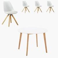 Blokhus Tisch rund + 4 Stühle weiß