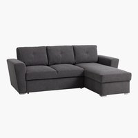 Sofa bed chaiselongue VEJLBY dark grey