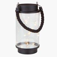 Lanterna PEDER Ø10xA20cm preto c/LED
