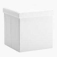 Puf LADELUND 40x40 con almacenaje blanco
