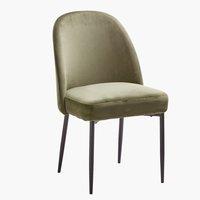 Dining chair VASBY velvet olive/black
