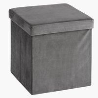 Poef AUNING 38x38 fluweel grijs
