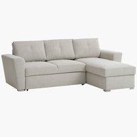 Sofa bed chaise longue VEJLBY light sand