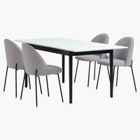 Кухненски стол DYBVAD светлосиво/черно