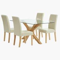 Miza AGERBY D160 + 4 stoli TUREBY