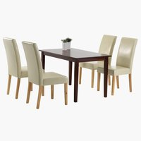 Miza BJERT+4 stoli TUREBY krem