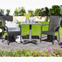 Table HOBRO L70cm+2 chairs GUDHJEM black