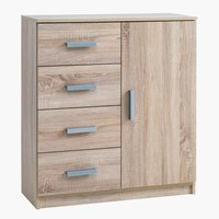 4-drawer 1-door chest KABDRUP combi oak