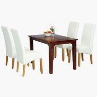 Miza FREDERICIA 120cm + 4 stoli BAKKELY