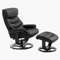Fotelja s tabureom GANTRUP crna