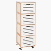 4-drawer chest BROBY castor bamboo/white