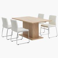 Miza SLAGELSE + 4 stoli HAMMEL bela