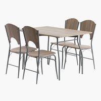 Masă 120 cm + 4 scaune stejar THYHOLM