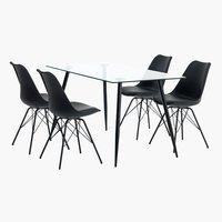 Miza OLLERUP d140 + 4 stoli KLARUP