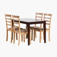 Маса BJERT кафе 120 см + 4 стола BJERT