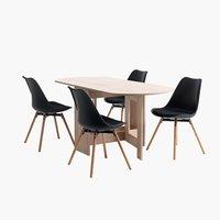 Маса OBLING + 4 стола KASTRUP черни/дъб