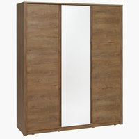 Wardrobe VEDDE 3 doors w/mirror wild oak