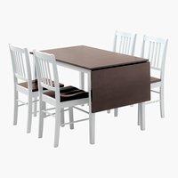 Tafel L120 + 4 stoelen BRANDERUP