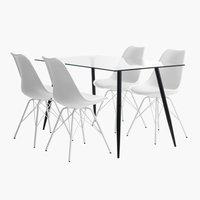 Miza OLLERUP D140+4 stoli KLARUP bela