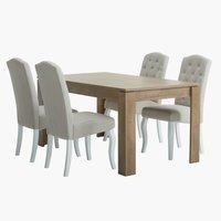 Miza VEDDE D160 + 4 stoli STENLILLE bela