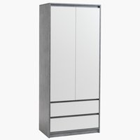 Wardrobe BILLUND 80x192 white/concrete