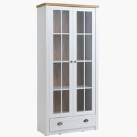Display cabinet MARKSKEL 2 door wht/oak