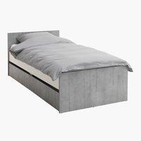 Кровать BILLUND 90x200 см белый/бетон