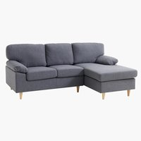 Sofa GEDVED chaiselong grå